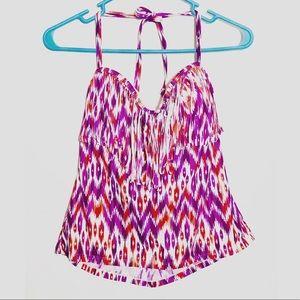 3/25$ Women's Catalina Purple Orange Swim Top LG.